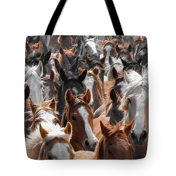 Horse Faces Tote Bag