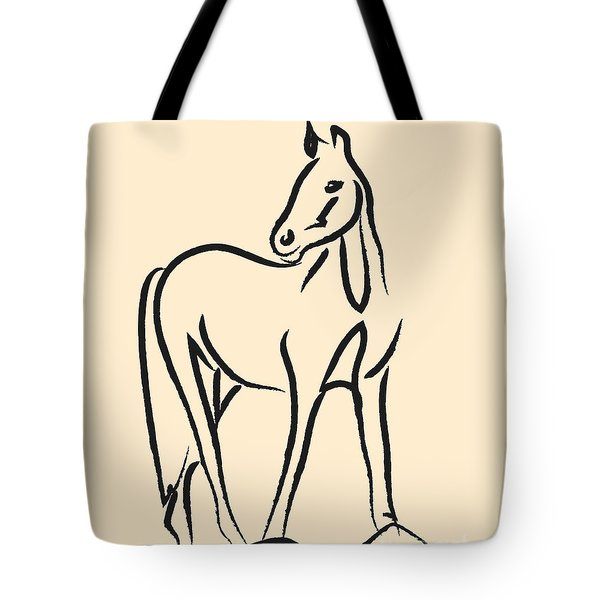 Tote Bag featuring the painting Horse - Grace by Go Van Kampen