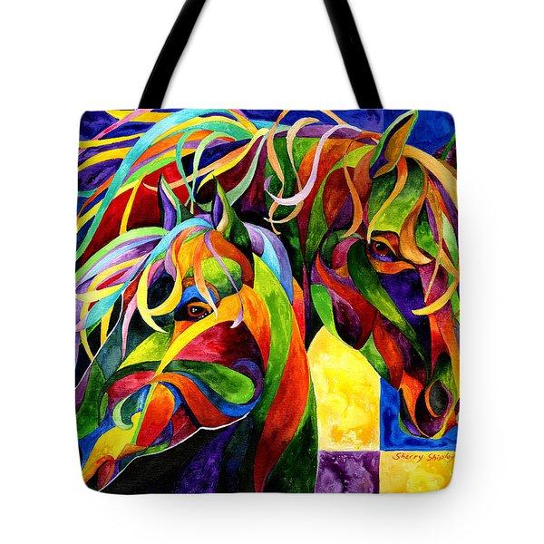 Horse Hues Tote Bag by Sherry Shipley