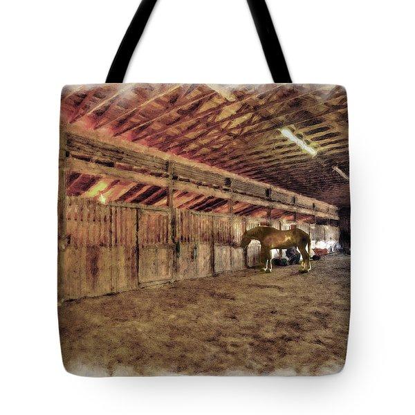 Horse In Barn Tote Bag by Dan Friend
