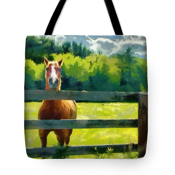 Tote Bag featuring the painting Horse In The Field by Jeff Kolker