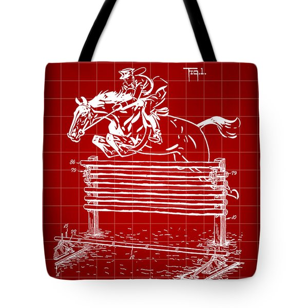 Horse Jump Patent 1939 - Red Tote Bag