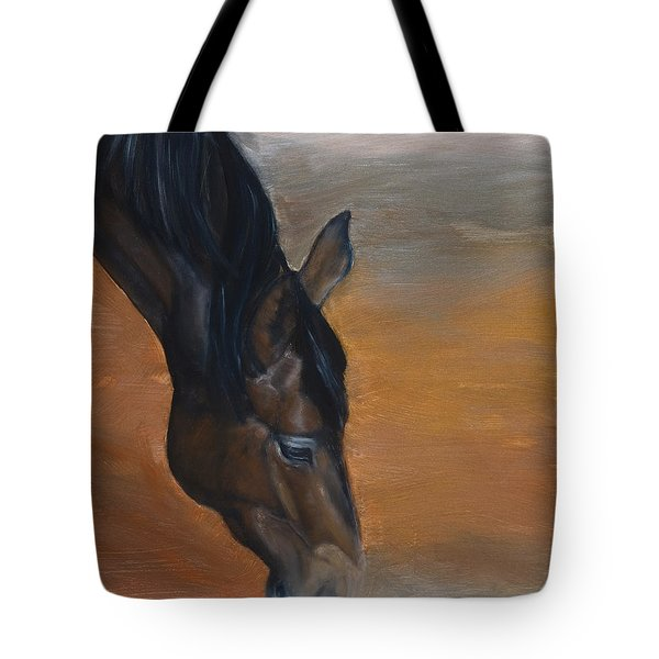 Tote Bag featuring the painting horse - Lily by Go Van Kampen