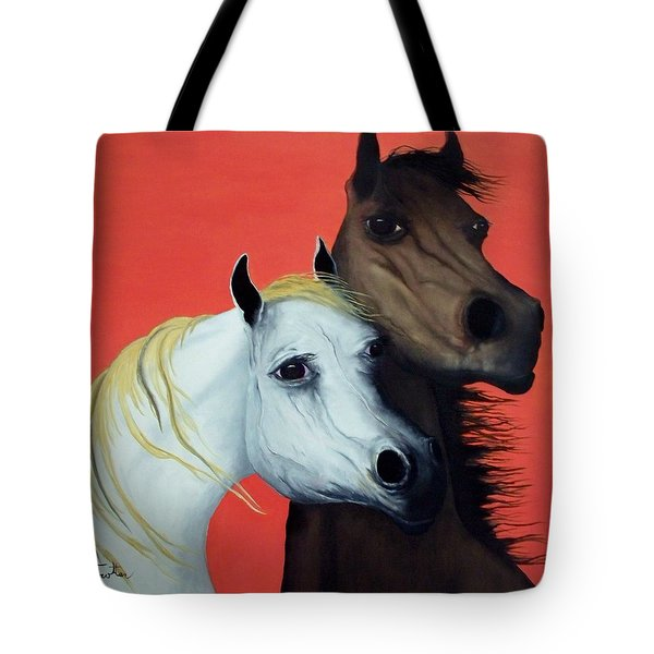 Horse Lovers In Red  Sold Tote Bag by Patrick Trotter