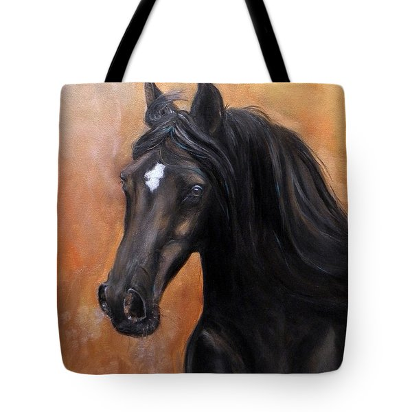 Tote Bag featuring the painting Horse - Lucky Star by Go Van Kampen
