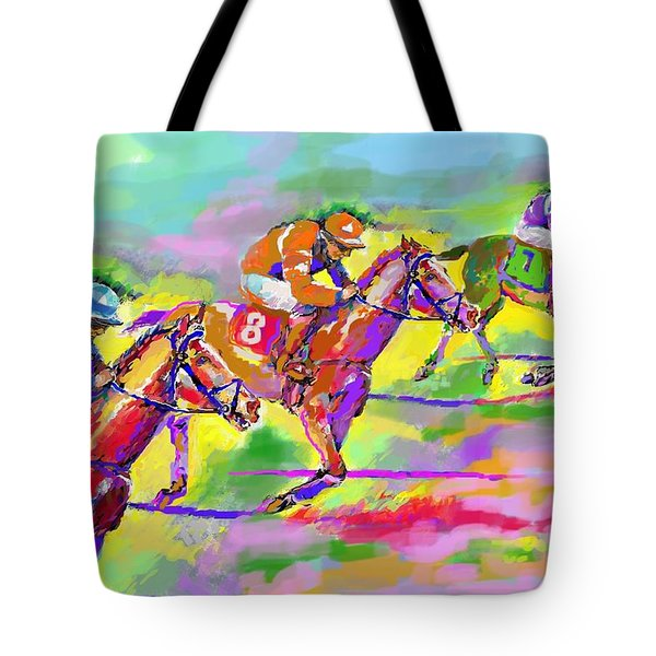Horse Race  Three Tote Bag by Mary Armstrong