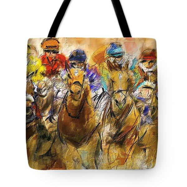 Horse Racing Abstract Tote Bag
