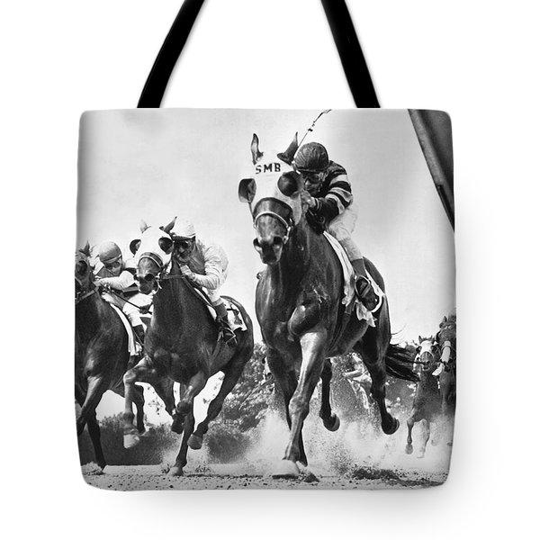 Horse Racing At Belmont Park Tote Bag