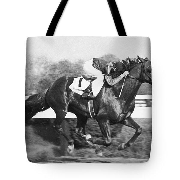 Horse Racing At Pimlico Track Tote Bag