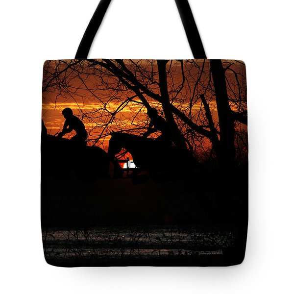 Horse Racing At Sun Downs - Featured In Comfortable Art And Nature Wildlife Groups Tote Bag by EricaMaxine  Price