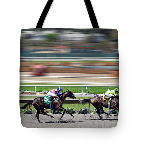Tote Bag featuring the photograph Horse Racing by Christine Till
