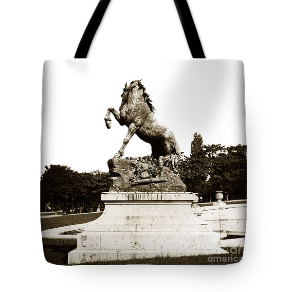Tote Bag featuring the photograph Horse Sculpture Trocadero  Paris France 1900 Historical Photos by California Views Mr Pat Hathaway Archives