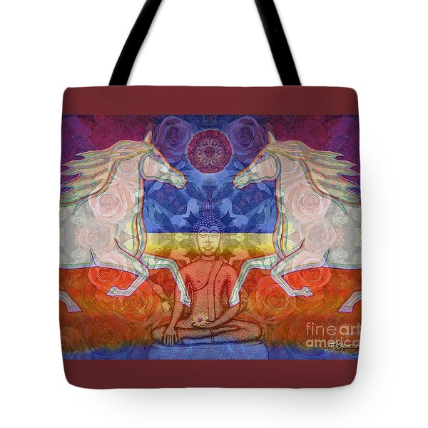Tote Bag featuring the digital art Horse Spirits In The Garden Of The Buddha 2 by Joseph J Stevens