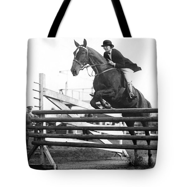 Horse Taking Jump Tote Bag