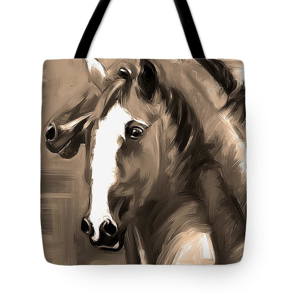 Tote Bag featuring the painting Horse Together 1 Sepia by Go Van Kampen
