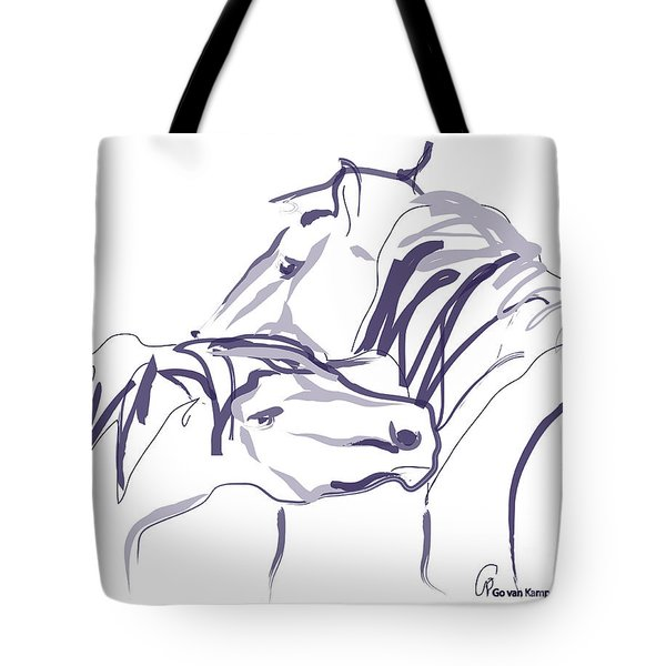 Tote Bag featuring the painting Horse - Together 10 by Go Van Kampen