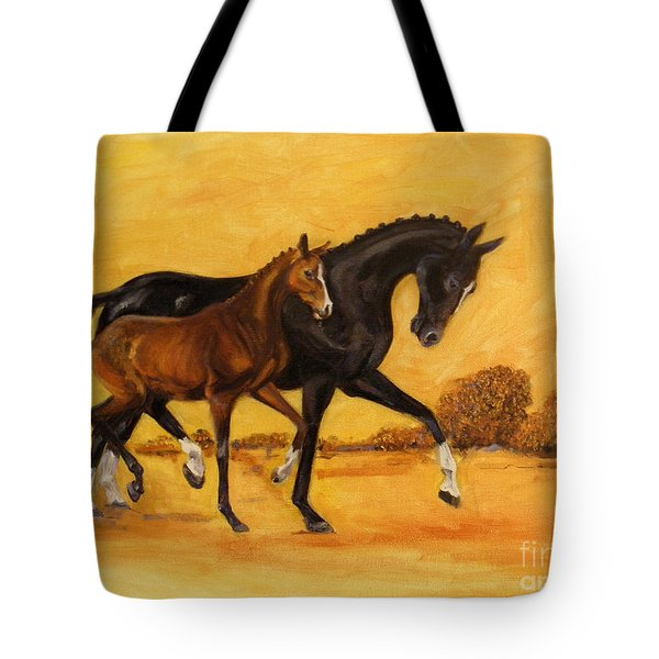 Tote Bag featuring the painting Horse - Together 2 by Go Van Kampen