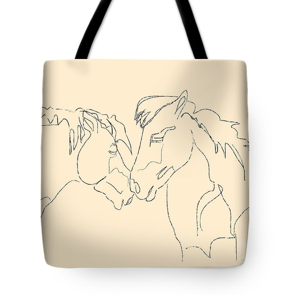 Tote Bag featuring the painting Horse - Together 3 by Go Van Kampen