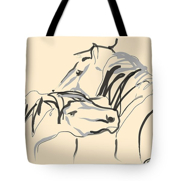 Tote Bag featuring the painting Horse - Together 4 by Go Van Kampen