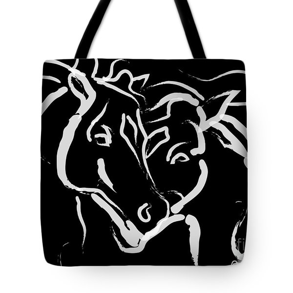 Tote Bag featuring the painting Horse- Together 5 by Go Van Kampen