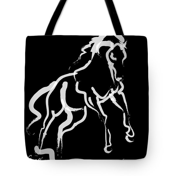 Horse White Runner Tote Bag
