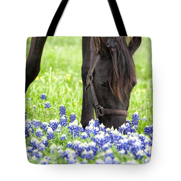 Horse With Bluebonnets Tote Bag