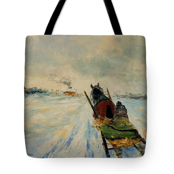 Horse With Sleigh Tote Bag