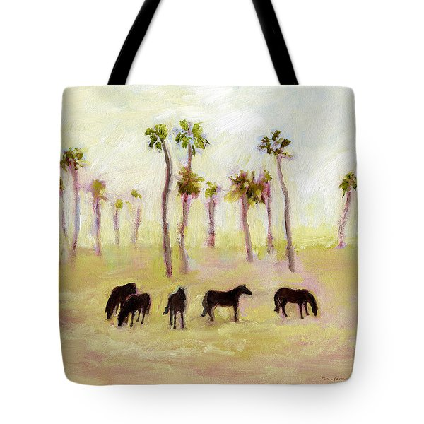 Horses And Palm Trees Tote Bag