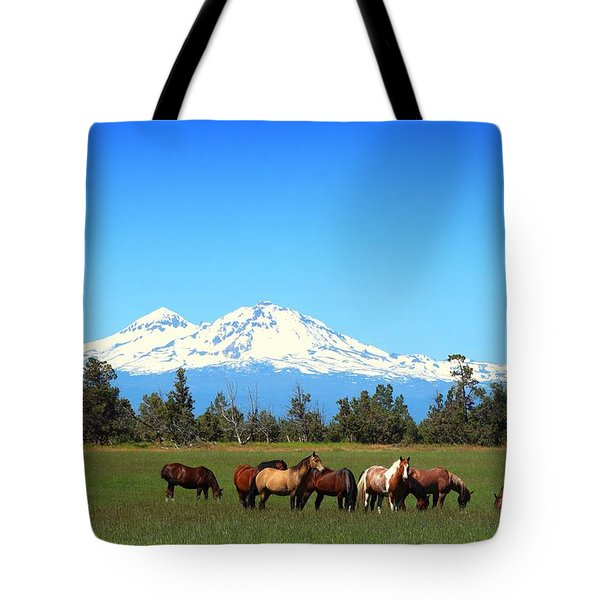 Horses At Sisters Mountain Tote Bag