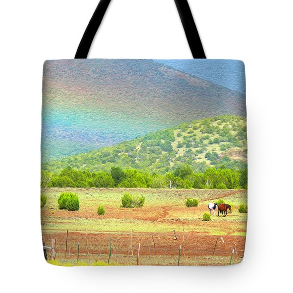 Horses At The End Of The Rainbow Tote Bag