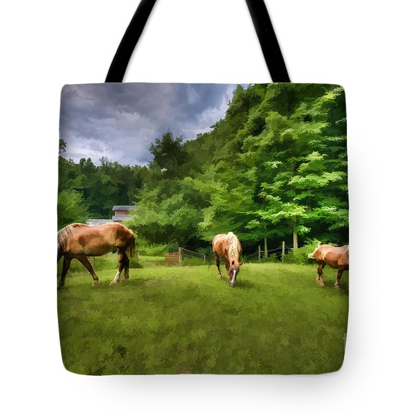 Horses Grazing In Field Tote Bag by Dan Friend