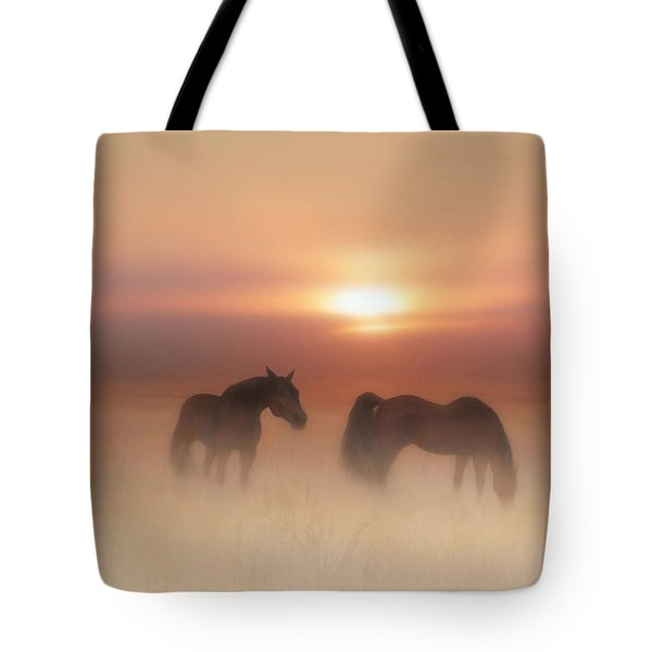Horses In A Misty Dawn Tote Bag