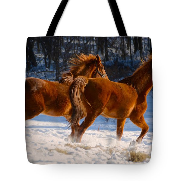 Horses In Motion Tote Bag