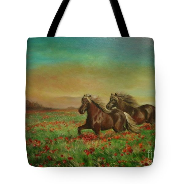 Horses In The Field With Poppies Tote Bag