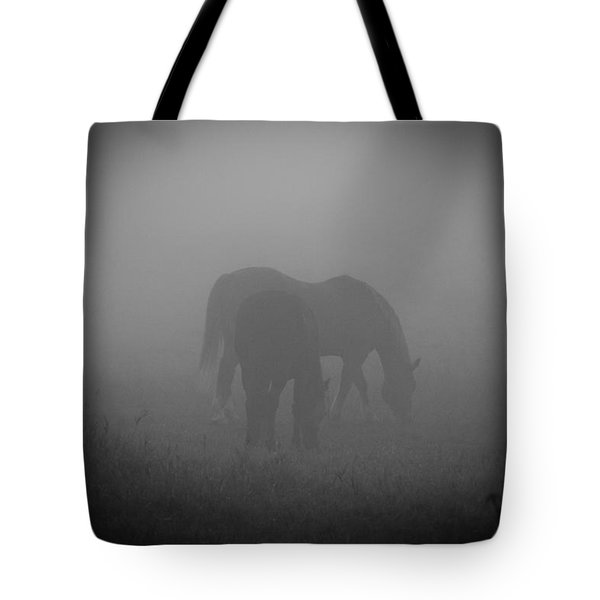 Tote Bag featuring the photograph Horses In The Mist. by Cheryl Baxter