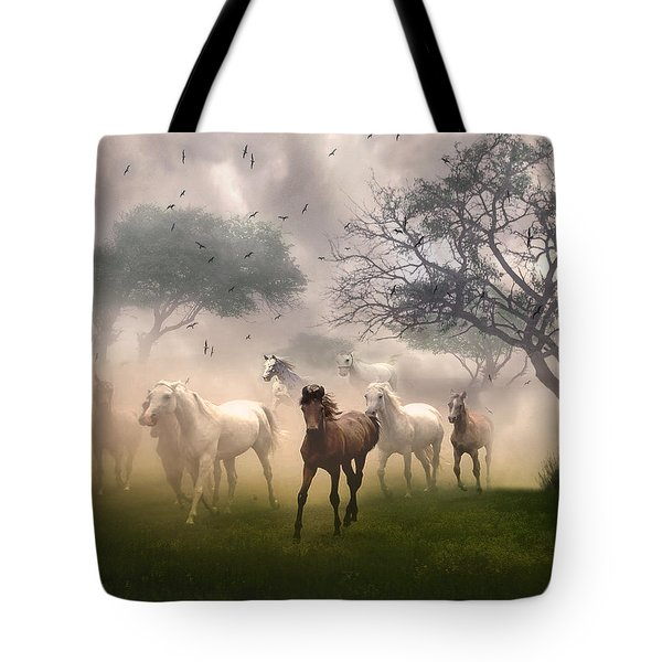 Horses In The Mist Tote Bag by Nina Bradica