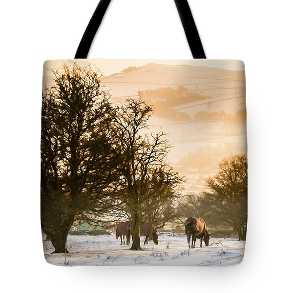 Horses In The Snow Tote Bag