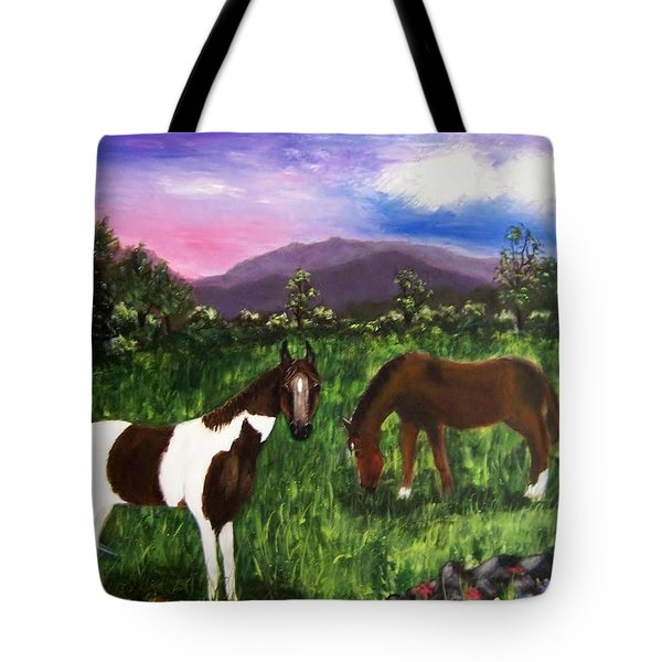 Tote Bag featuring the painting Horses by Jamie Frier