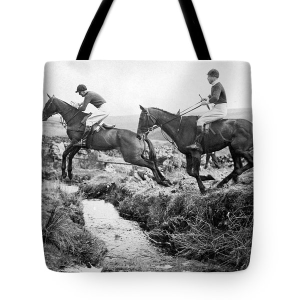 Horses Jumping A Creek Tote Bag