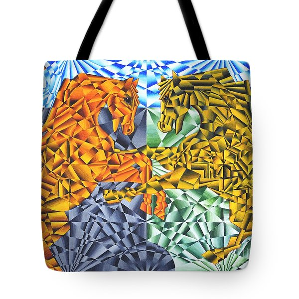 Tote Bag featuring the painting Horses Of A Different Color by Joseph J Stevens