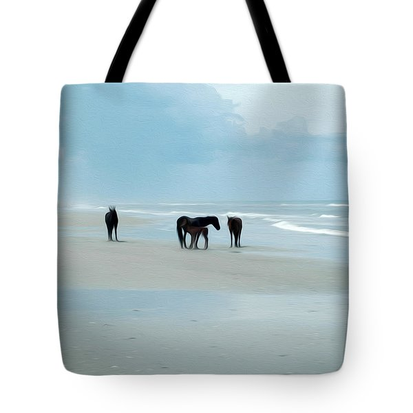 Tote Bag featuring the digital art Horses Of The Obx by Kelvin Booker