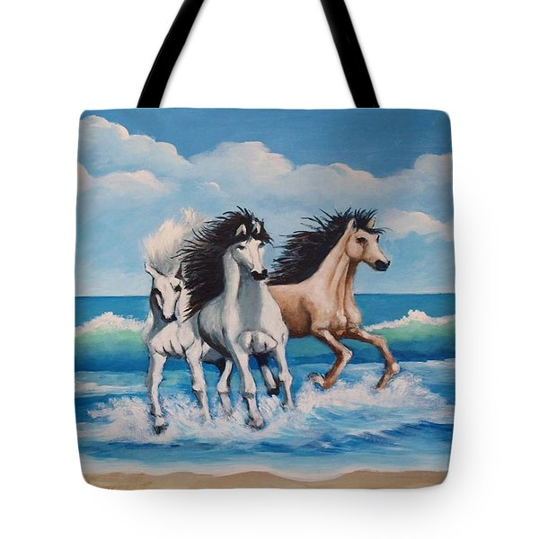 Horses On A Beach Tote Bag