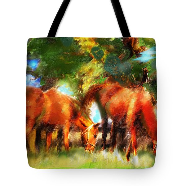 Tote Bag featuring the painting Horses On A Kentucky Farm by Ted Azriel