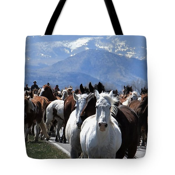 Horses On Road Tote Bag