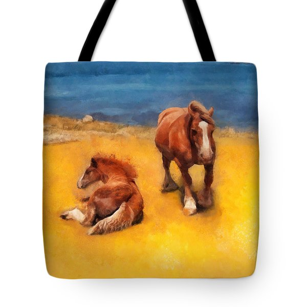 Tote Bag featuring the painting Horses On The Coast Of Brittany by Menega Sabidussi