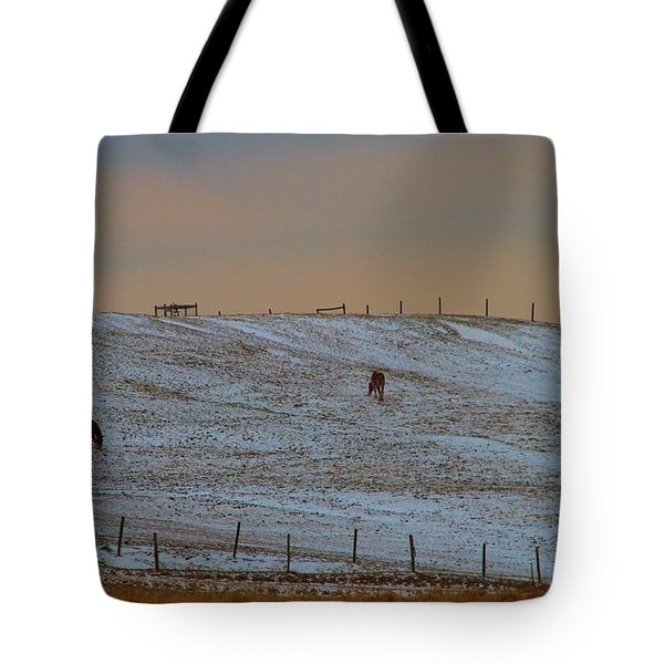 Horses On The Farm In Winter Tote Bag