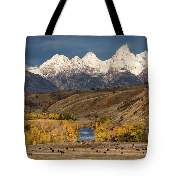 Horses On The Gros Ventre River Tote Bag