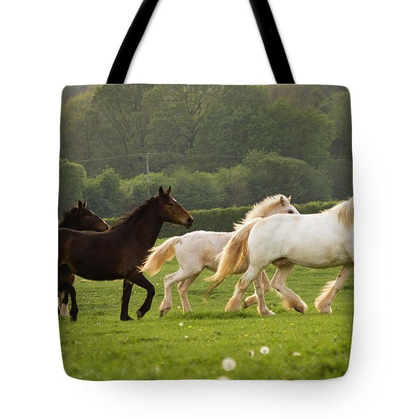 Horses On The Meadow Tote Bag by Angel  Tarantella