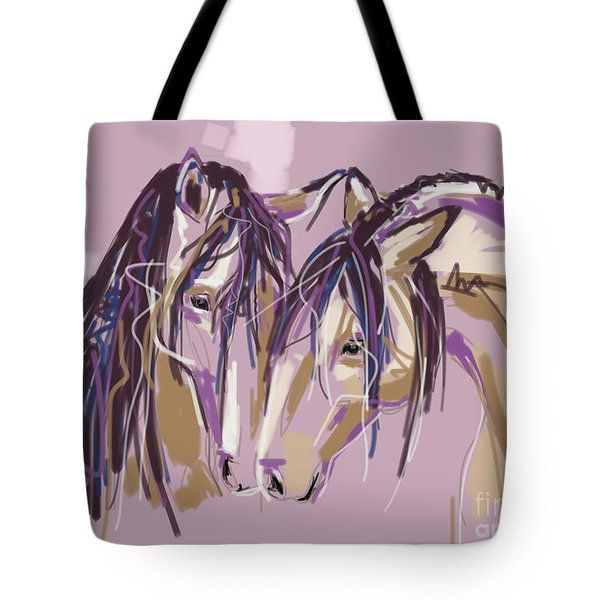 Tote Bag featuring the painting horses Purple pair by Go Van Kampen