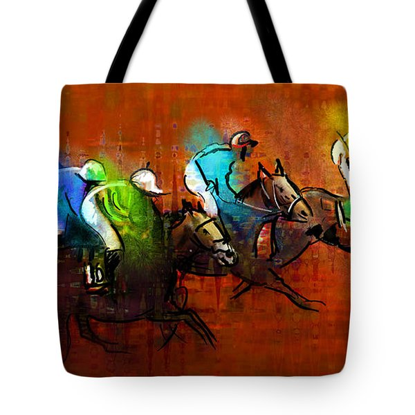 Horses Racing 01 Tote Bag by Miki De Goodaboom